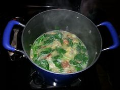 Healthy chicken meatball spinach soup. Use ground chicken for the meatballs or ground turkey. This was so good!