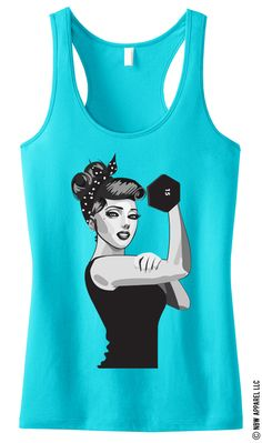 MODERN ROSIE the RIVETER #Workout #Tank Top Teal -- By #NobullWomanApparel, for only $24.99! Click here to buy http://nobullwoman-apparel.com/collections/fitness-tanks-workout-shirts/products/modern-rosie-the-riveter-workout-tank-top-teal