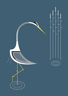 Not Charlie Harper but similar illustration format - Irish Bird Series by Alan Nagle, via Behance