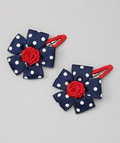 Another great find on #zulily! Navy & Red Flower Hair Clip Set by Loopy Loos #zulilyfinds