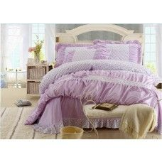 Light Purple Floral Lace Bowtie Girls Bed Sheet And Cover