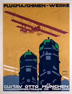 By Ludwig Hohlwein Flying Machine Works, Gustav Otto, Munich. Vintage Posters, Vintage Art, Vintage Prints, Poster Ads, Poster Prints, Socialist Realism, Ludwig, Inspirational Posters, Print Advertising