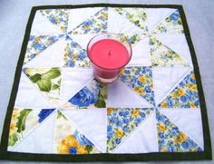 Table Topper Quilted Square Country Creams by GabbysQuiltsNSupply, #quilting#sewing