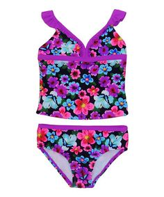 Look what I found on #zulily! Purple Floral Tankini - Toddler & Girls #zulilyfinds