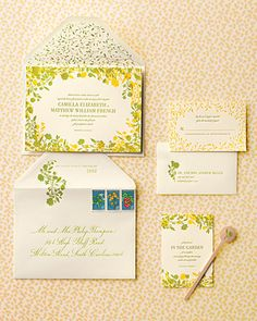 Wedding Ideas: yellow-green-70s-invitation-suite