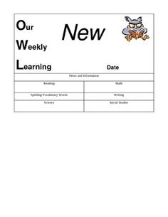 This was created to use in a Student Communication Notebook. OWL stands for Our Weekly Learning. This document is a customizable classroom newslett...