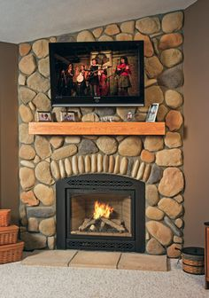 Stoned Fireplace with box mantle Baugo Creek Fieldstone with Stream Stones J&N Stone