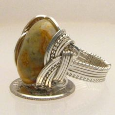 Wire Wrapped Sterling Silver Crazy Lace Agate Ring #Wrap