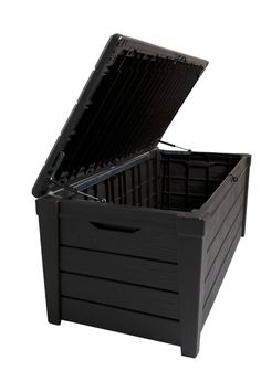The Saxon 454 Litre Resin Garden Storage Box is a waterproof chest that can be conveniently kept in the garden area. Use of resin makes this storage box robust and durable. It is sturdy enough to be used as a seating in the outdoor. This storage chest looks charming, thanks to its dark brown finish. It features a capacity of 454l and is quite spacious. The natural wood effect look of the storage box adds to its aesthetic appeal. This waterproof storage box has a self closing piston lid…