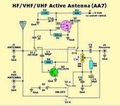 Active Antenna HF/VHF/UHF 3-3000MHz Basic Electronic Circuits, Electronic Circuit Projects, Electronic Schematics, Electronics Projects, Ham Radio Antenna, Wifi Antenna, Radio Astronomy, Qrp, Circuit Diagram