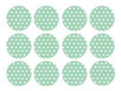Sticker Polka Dots türkis/weiß - 24 Stck.