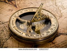 old compass on vintage map 1752