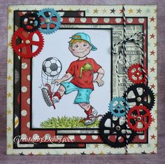 boy soccer card with gears by Debby Yates