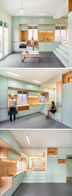 This small and modern apartment has an open area, while the kitchen, with its light blue cabinets and wood features lines the wall.  #SmallApartment #Kitchen