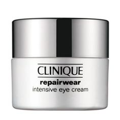 Clinque Repairwear Intensive Eye Cream. Potent anti-aging eye cream focuses skin's energies on repair. Targets the appearance of eye-area lines and wrinkles. Replenishes antioxidants. Strengthens vulnerable skin for a brighter, vibrant, refreshed look. Ophthalmologist Tested. I have nothing but love for this product.