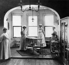 HAH Storyline: Eve and other nurses in one of two operating theaters at the Royal Palace in Brussels. Part of the Palace became a makeshift hospital for wounded during WWI.