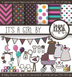 Papel Digital Fondos Imagenes Clip art para Baby por LagartixaShop, $4.00 #babyshower #digitalpaper #stork #itsagirl #pink #scrapbooking