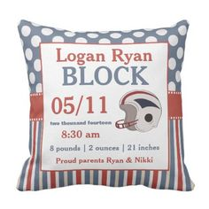 Pink Blue Soccer Child Announcement Pillow. >>> Have a look at even more at the picture