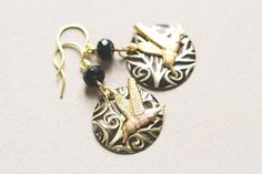 Black and Gold Humming Bird Earrings with by MusingTreeStudios, $18.99