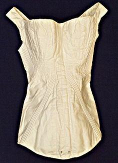 Linen stays stabilized with cording; Swedish, Ca 1820-40. Örebro Läns Museum, nr. OLM-15370