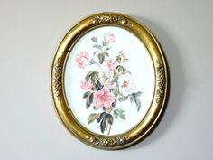 Framed Oval Floral Print by LittleDixieVintage on Etsy