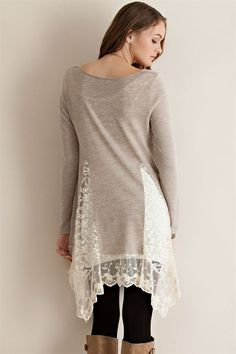 Bottom Lace Sweater Tunic - Sand - Knitted Belle Boutique - 1
