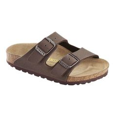 A contoured cork footbed covered in soft suede provides support and comfort for little feet in a classic Birkenstock sandal style crafted with mocca colored leather Birko-Flor™ straps that adjust for