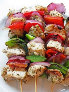Chicken Skewers chicken breast, red onion, red pepper, mushrooms, zucchini, yellow squash