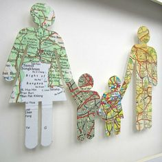 How cute to do silhouette of each family member using map from where they were born!  Have to do this!