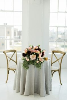 Simple grey tablescape.