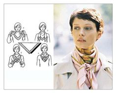 """The Hermes scarf belongs to the wish list of almost every woman. A lot of people misjudge the Hermès scarf as an accessory for the """"over Ways To Wear A Scarf, How To Wear Scarves, Square Scarf How To Wear A, Square Scarf Tying, Scarf Tying Tutorial, Scarf Knots, Tie A Scarf, Scarf Tieing, Neck Scarves"""
