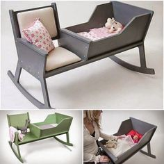DIY rocking chair cradle with cot - you can comfortably . - Baby deco - DIY rocking chair cradle with cot — you can comfortably … - Baby Furniture, Furniture Projects, Home Projects, Furniture Design, Furniture Removal, Furniture Plans, Luxury Furniture, Diy Bebe, Baby Cribs