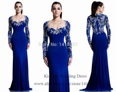 Cheap evening gowns women, Buy Quality mermaid evening gown directly from China long sleeve evening Suppliers: 2015 Elegant Long Sleeve Evening Dresses Royal Blue Formal Dress Crystal Mermaid Evening Gowns Women Couture Vestidos Longos