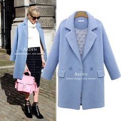 2014 winter women's double breasted female overcoat thick wool light blue wool coat medium-long loose plus size white wool coat
