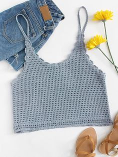 Crochet Crop Cami Top -SheIn(Sheinside) The clothing culture is quite old. T-shirt Au Crochet, Crochet Mignon, Bikini Crochet, Mode Crochet, Crochet Cami Tops, Crochet Summer Tops, Crochet Shirt, Crochet Top Outfit, Crochet Clothes