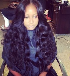 Flat middle part sew in with curls-wouldlove to have this style