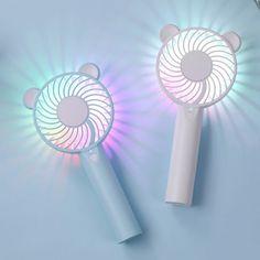 LED Handheld Mini Portable USB Charging Fan 👝 Shop now for miniatures Portable Air Cooler, Baby Fan, Usb Box, Student Dormitory, Student Office, Small Fan, Hand Held Fan, Cute Cartoon, Bear Cartoon