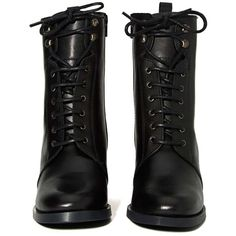 Report Kenneth Boot (120 CAD) ❤ liked on Polyvore featuring shoes, boots, black, zapatos, black boots, leather lace up boots, leather upper boots, high heel shoes and round toe boots