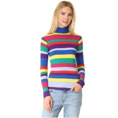 Mira Mikati Ribbed Turtleneck Top with Stripes (1,655 PEN) ❤ liked on Polyvore featuring tops, sweaters, multi, turtle neck sweater, long sleeve turtleneck top, ribbed turtleneck sweater, striped turtleneck sweater and striped turtleneck