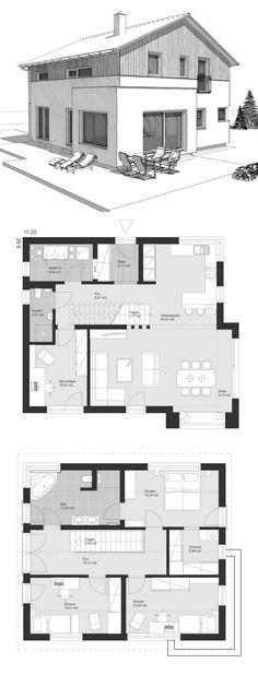 Einfamilienhaus Neubau im Landhausstil Grundriss mit Satteldach, gerade Treppe & Holz Fassade - Architektur Zeichnung Fertighaus bauen Ideen ELK Haus 155 - HausbauDirekt.de