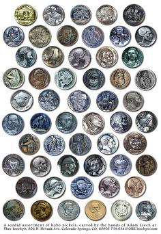Adam Leech's Hobo Style Leech Nickels, Skull Hobo Nickels, Skeleton Hobos, Tradition Original Hobo Nickel Carvings