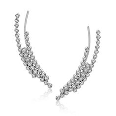These fashionable climber earrings contain a stunning .62 ctw of white diamonds bezel set into a modern 18k gold design.