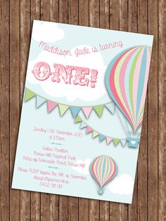 Hey, I found this really awesome Etsy listing at https://www.etsy.com/listing/179345871/hot-air-balloon-birthday-invitation
