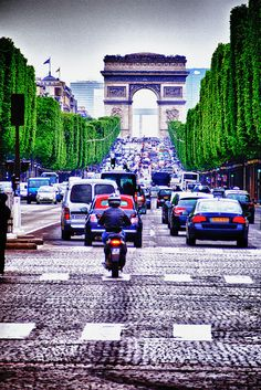 Paris Champs Elyse...we stood at that light in the middle to take a pic!