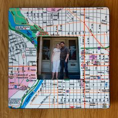 inexpensive wood frame + map + Mod Podge = cute anniversary gift for a cute couple