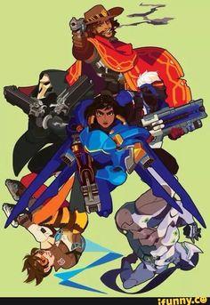overwatch, mccree, pharah, soldier76, genji