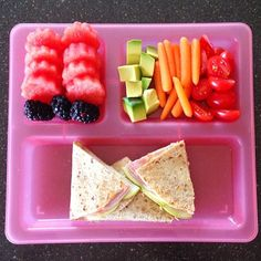 •Applegate ham, cheddar, and apple multi grain quesadilla •Watermelon •Blackberries •Avocado •Baby carrots •Grape tomatoes (via cleaneats_cleantreats on Instagram)