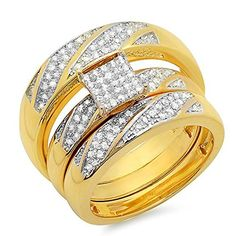 0.30 Carat (ctw) 18K Yellow Gold Plated Silver Round Diamond Men