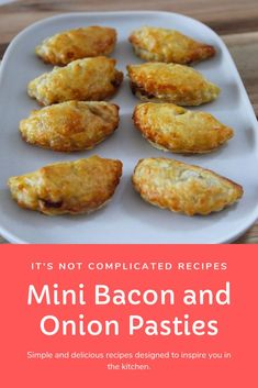My Mini Bacon and Onion Pasties may look impressive, but they're one of the most simple recipes! They're a delicious, savoury appetiser that's always a hit. Savory Pastry, Puff Pastry Recipes, Savoury Pies, Bacon Recipes, Appetizer Recipes, Cooking Recipes, Empanadas, Savory Snacks, Appetizers