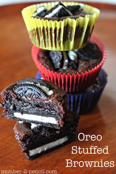 Oreo Stuffed Brownies- preheat to 350 and prepare brownie batter according to directions on box. Line a muffin pan with baking cups, and lay a whole Oreo in the bottom. Spoon prepared brownie batter over Oreo cookie. Then, add a few coarsely chopped Oreos to the top. Bake at 350 for 25-30 minutes and you're done!